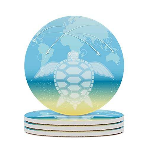 Posavasos para copas de mar, diseño de mapas de tortugas, decoración del hogar, corcho, tazas de café, mesa, protección contra el calor, 4 piezas