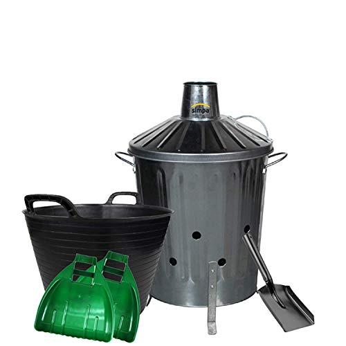 simpaoutdoor Galvanised Locking Lid Incinerator Bin 60 Litre, Mini Shovel, 42L Flexi Tub and Plastic Leaf Grabber Set.