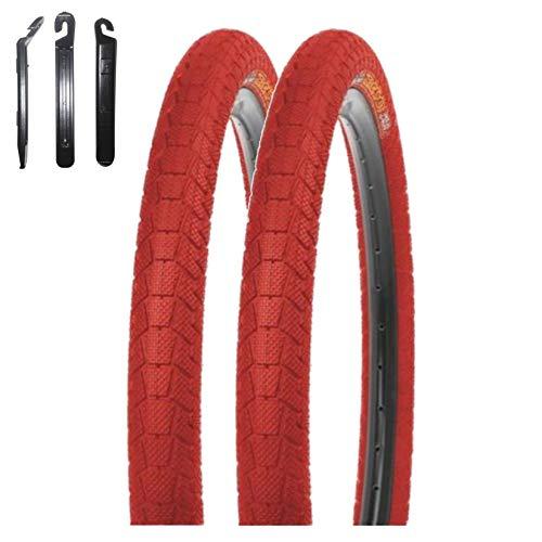 maxxi4you Kenda K-907 Krackpot - Juego de 2 cubiertas para bicicleta de 20 pulgadas (50-406, incluye 3 desmontadores de neumáticos), color rojo