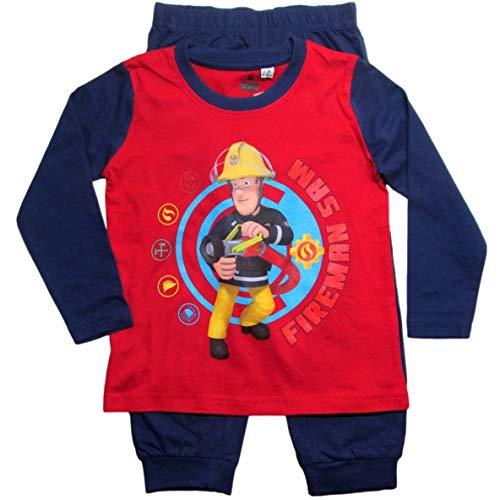 Feuerwehrmann Sam Schlafanzug Lang Pyjama (Blau-Rot, 104-110)