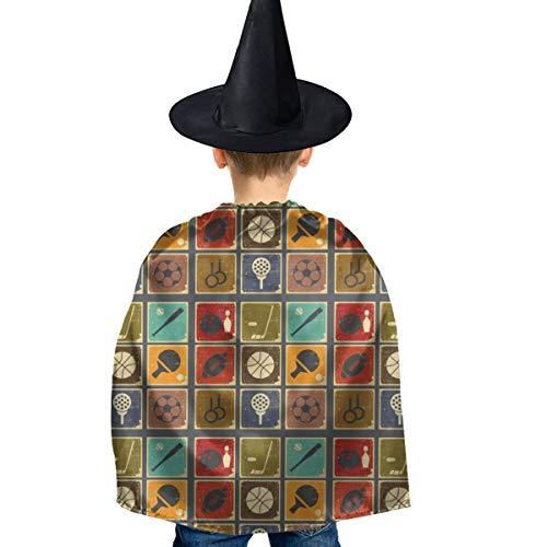 Amoyuan Unisex Kids Kerstmis Halloween Heks Mantel Met Hoed Vintage Sport Objecten Wizard Cape Fancy Jurk