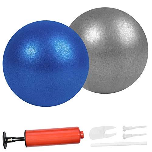 Pelotas de pilates para yoga de 9 pulgadas, estabilidad, pilates, ejercicio, gimnasio, antiráfagas y antideslizantes, con pajita inflable (azul + gris)