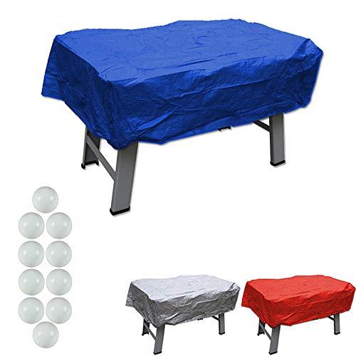 grandeemporio Calcio Balilla Copertura in plastica Blu per Interno ed Esterno Universale per Ogni Tipo di Calcetto. Set di 10 Palline in Omaggio.