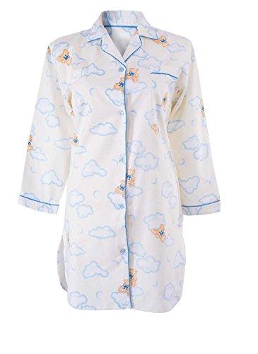 AdoniaMode Damen Flanell Nacht-Hemd Sleepshirt Nachtwäsche Langarm V-Ausschnitt Knopfleiste Bärchen Blau/Creme Gr.44/46