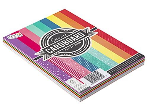 Craft Sensations Buntes Din A4 Tonzeichenpapier - 220g Farbiges Papier - 72 Bögen In 9 Farben & Mustern - Für Drucker & DIY Crafting Geeignet - Für Hobby, Basteln, Drucken, Schule, Deko & Geschenke