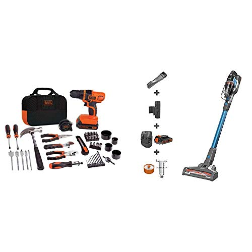 BLACK+DECKER 20V MAX Drill/Home Tool Kit with POWERSERIES Extreme Cordless Stick Vacuum, Blue (LDX120PK & BSV2020G)