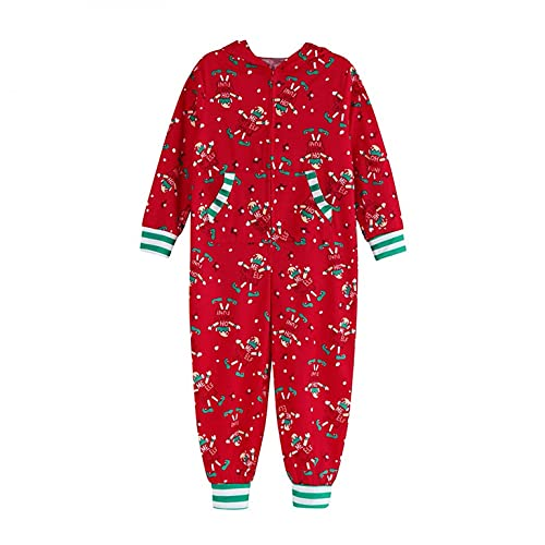LEIYAN Christmas Family Pajamas Long Sleeve Zip Up Cute Rabbit Ear Hooded Graphic Jumpsuit Merry Xmas Tacky Holiday Rompers Red
