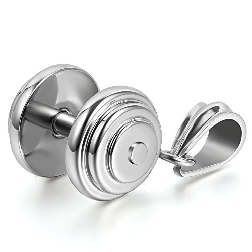 JewelryWe Schmuck Herren Halskette mit Fitness Hantel Anhänger, Edelstah55cm Kette, Silber