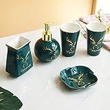 Dispensador de Jabón Accesorios de baño Set de 5 piezas de cerámica verde de accesorios de baño se completa con bomba de jabón Cepillo de dientes dispensador de la loción / sostenedor del vaso Mini Ba