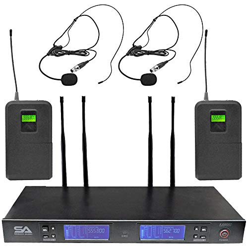 Seismic Audio - SA-U2LV3-2 - 2 Channel UHF Wireless Microphone System with 2 Headset Microphones, Adjustable Frequencies - PA DJ Wireless Mics