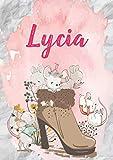 Lycia: Carnet de notes A5 | Prénom personnalisé Lycia | Cadeau d'anniversaire pour fille, femme, maman, copine, sœur | Souris mignonnes en bottes | ... Format A5 (14.8 x 21 cm) (French Edition)