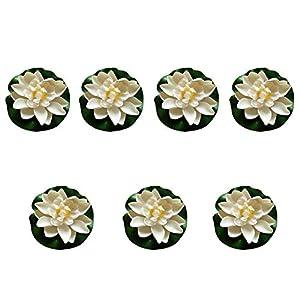 FengShuiGe 7Pcs 3.9 Inch Artificial Lotus Flower Artificial Flower Pool Aquarium Decoration Eternal Flower Artificial Flower (White)