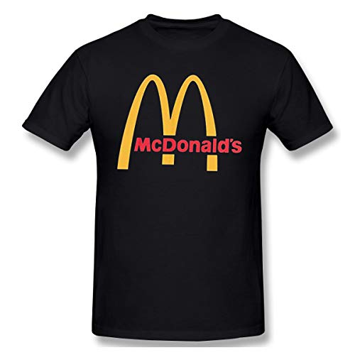 Carryanol Men's McDonalds Logo Short Sleeves Tee Boy Trendy Shirt XXL Black
