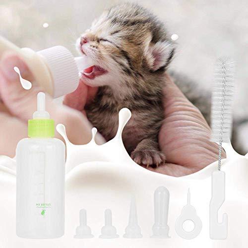 Queta 60 ml Silikon Babyflasche, Neugeborenen Pflegeflasche, Futterflasche, Zuchtflasche mit Nippelbürstenset, geeignet für Neugeborene, kleine Katzen und Hunde