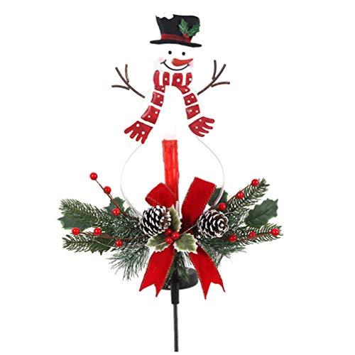 UPKOCH Weihnachten Gartenstecker Solarleuchte LED Schneemann Kerze Außenlampe Wasserdicht Weihnachtsbeleuchtung Innen Außen Hof Garten Rasen Terrasse Outdoor Dekoration Weihnachtsdekoration