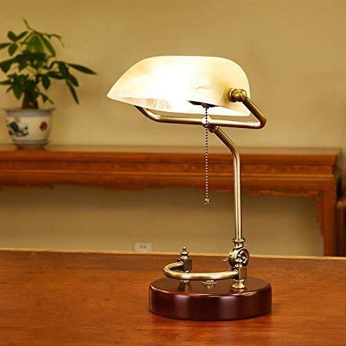 Lámpara Decorativa Lámpara De Escritorio De Mesa Iaizi Estilo Americano Diseño De Estilo Simple, Lámpara Administrativa De Banquero, Sombra De Vidrio Luces De Mesa Led De Latón Antiguo (Color: Amaril