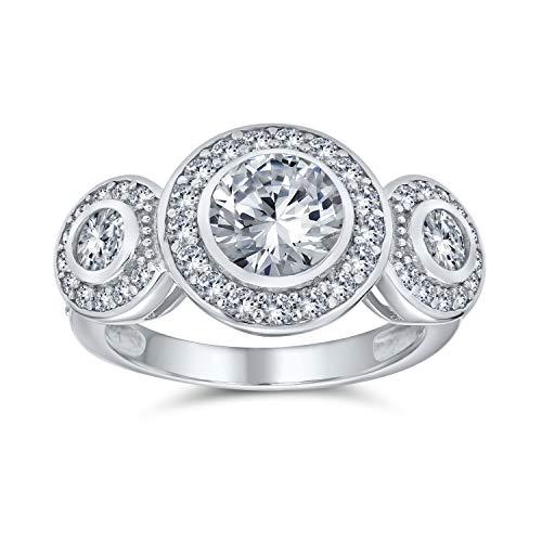 Bling Jewelry Stile Art Deco Argento 925 Passato Presente Futuro Cubic Zirconia AAA CZ 3 La Pietra Halo Circlet Anello di Fidanzamento