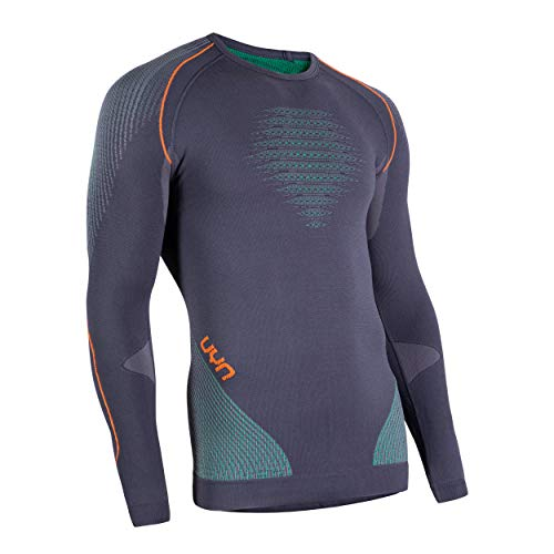 UYN Herren Evolutyon Langärmliges Unterhemd, Charcoal, Grün, Orange Shiny, L/XL - 3