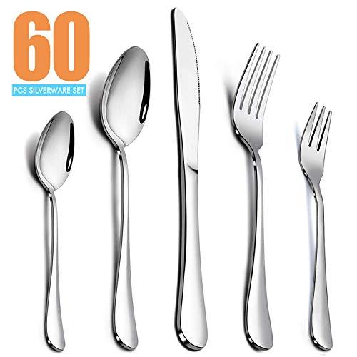 Elegant Life 60-teiliges Besteckset, Besteckset aus Edelstahl für 12 Personen, aus spiegelpoliertem Besteck, Monobloc-Messer, Edelstahl poliert, glänzend, Partygeschirr für das Küchenrestaurant