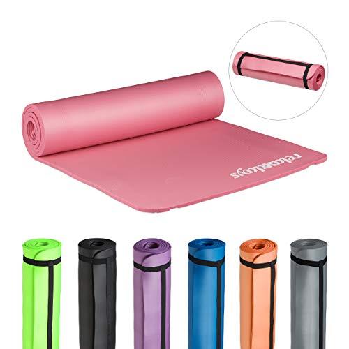 Relaxdays Yogamatte, 1 cm dick, für Pilates, Fitness, gelenkschonend, mit Tragegurt, Gymnastikmatte 60 x 180 cm, pink