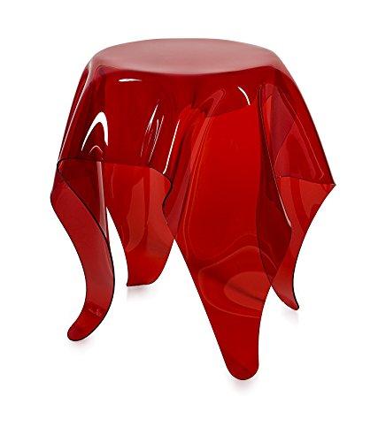 Iplex Design Drappeggi d'Autore Tavolino in Plexiglass Trasparente, Rosso