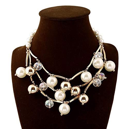 NAttnJf Collar unisex de perlas sintéticas para mujeres, collar de cadena multicapa, joya de regalo, 4 #