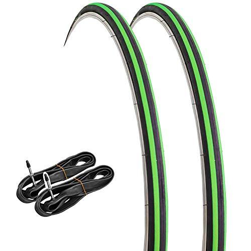 GORIX Rennrad Slick Tire 700 × 23 C (2 Reifen + 2 Schläuche) Radfahren Fahrrad Passion (schwarz × grün)