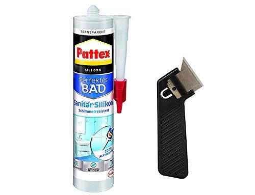 """Pattex Silikon Dusche & Bad, transparent, Premium-Silikon für alle Anwendungen im Sanitärbereich, elastisch, abriebfest, Spar-Set mit 300 ml und einem Fugenkratzer """"Pattex Fugenhai"""", 9HPFDBTP1X"""