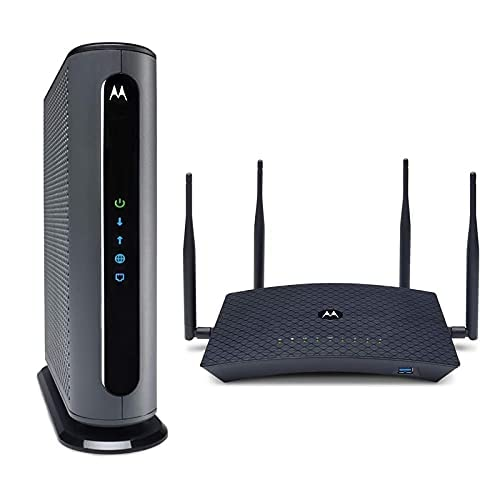 Motorola MB8611 Cable Modem + AC2200 Smart Wi-Fi Router with Extended Range   Top Tier Internet Speeds   Approved for Comcast Xfinity, Charter Spectrum, and Cox – Separate Modem and Router Bundle