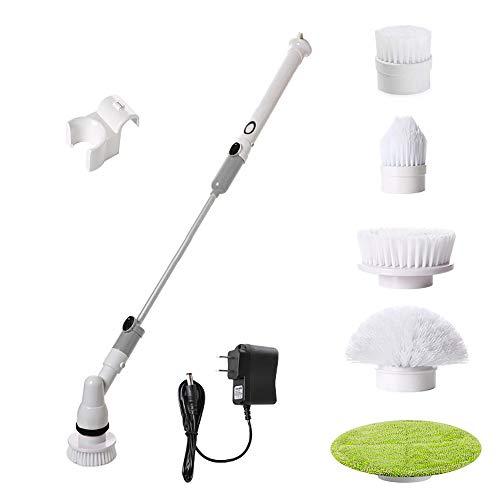 風呂掃除ブラシ バスポリッシャー 電動掃除ブラシ 年末掃除 コードレス 充電式 ポリッシャー 5つのブラシ付 防水仕様 浴室/浴槽/床/お風呂/タイルなどの掃除に適用