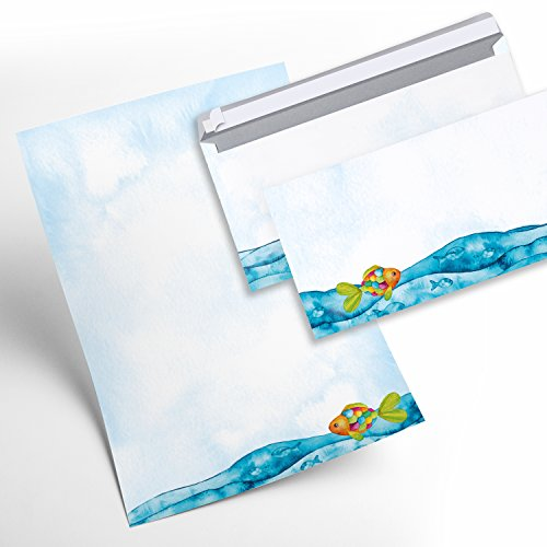 Juego de papel de cartas niños 25hojas + 25sobres peces arco iris de pescado azul turquesa multicolor para invitaciones Cumpleaños Infantil Comunión Bautizo Confirmación Danke Decir