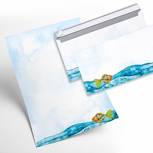Briefpapier-SET Kinder 25 Blatt + 25 Umschläge FISCHE Regenbogen-Fisch blau türkis bunt für Einladungen Kindergeburtstag Kommunion Taufe Firmung Danke sagen