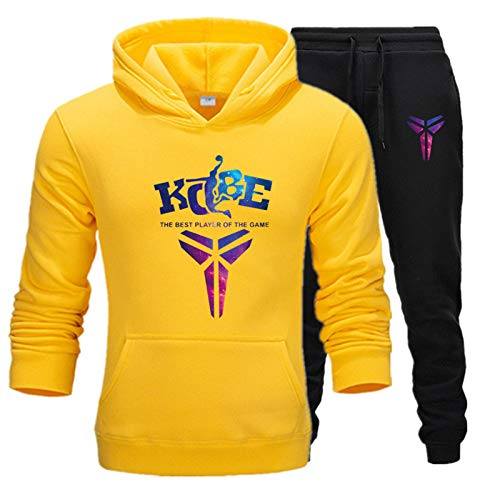 XIKONG Kobe # 24 Hombres Deportes Jersey suéter suéter, Entrenamiento de Baloncesto Chaquetas Sueltas Manga Larga Sudadera Casual Deportes Pantalones Yellow-S