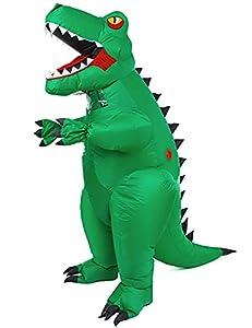 ZRen Inflatable Dinosaur T-Rex Costume Adult Blow up Halloween Costume Fancy Dino Suit Unisex Jumpsuit Indoor Outdoor Party Cosplay Costumes Green from ZRen