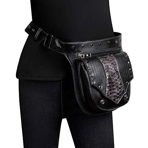 RongDuosi Sport PU Lederen Steampunk Taille Pack Gothic Fanny Pack, Vintage Gothic Retro Rok Messenger Bag Hip Bag Handtas- Riem Bevestiging Verstelbare Satchel Zwembed