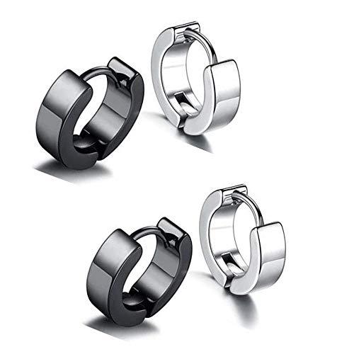 Flongo Pendientes para hombre de acero romático con letra de círculo con forma negra para Navidad o San Valentín plateado / negro / ral 9006