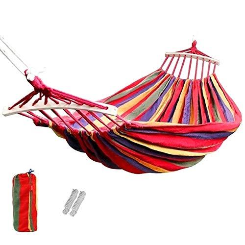 Yajun Hamaca Colgante Doble para Acampar Silla Columpio portátil Ligera Paracaídas Transpirable Muebles de Viaje de Nailon para Exteriores, 190x150cm,Red