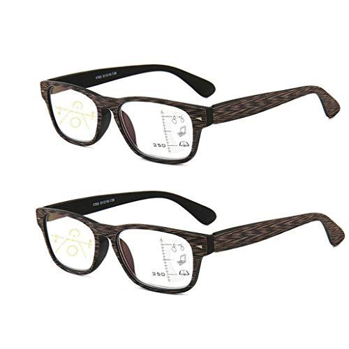 QWSA Holz Bambus Lesebrille Männer Full Frame Clear Lens Presbyopia Leseglas Brillenrahmen Anti-Blue Light Progressive Multifokalgläser,+1.5