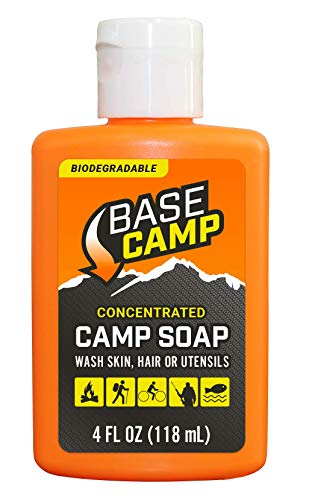 Dead Down Wind Base Camp Biodegradable Camp Soap | 4 Oz Bottle | Multipurpose Environmentally Safe Concentrated Cleaner | Use as a Body Wash or Dish Soap | All Natural Hunting & Camping Soap