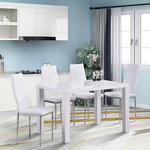 GOLDFAN Modern Rectangle Dining Table and Chairs Set High Gloss Kitchen Table with 4 Soft White Leather Chairs for Dining Room
