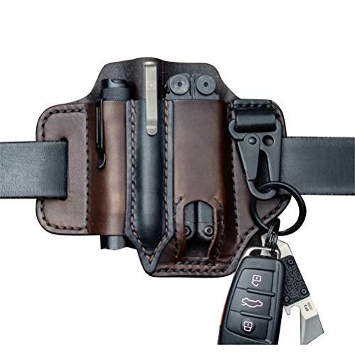 Bireegoo 1 x EDC-Lederscheide für Leder-Mann, Multitool, EDC Taschenorganizer mit Schlüsselhalter für Gürtel und Taschenlampe.