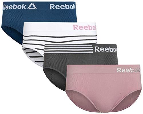 Reebok Damen Nahtlose Hipster-Höschen mit Etikett, elastischer Bund (4er-Pack) - mehrfarbig - Groß