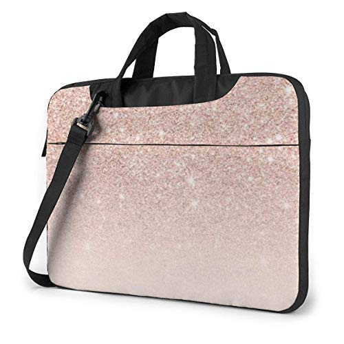 Laptop Tas 15.6 Inch Laptop Schouder Messenger Tas, Rose Goud Behang Gedrukt Handtas Laptop Sleeve met riem