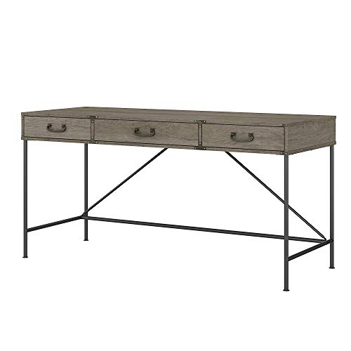 Bush Furniture Ironworks Writing Desk with Drawers, 60W, Restored Gray