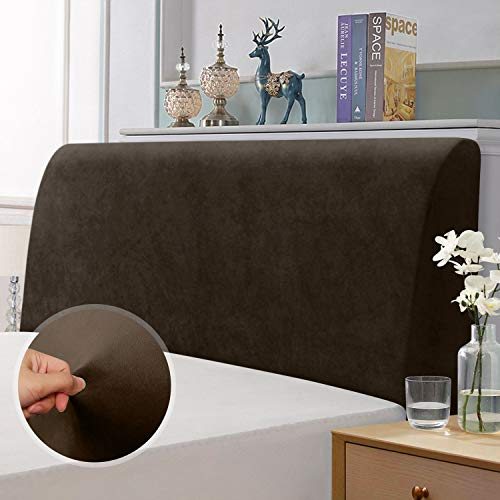 Bett Kopfteil Abdeckung, elastische Kopfteil Schutzabdeckung, All-Inclusive-Design einfarbiger elastischer Schutz, Braun 120-140 cm