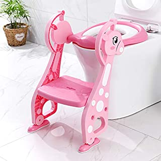 Potty Training Seat with Non-Slip Ladder Step Potty Ladder, Adjustable Toddler Toilet Potty chair for Boys/Girls, Built in...