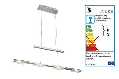 Livarno Lux® LED Pendelleuchte - 4 x 12 LEDs je Modul - Meatll in Mattnickel Optik, teilsatiniertes Glas