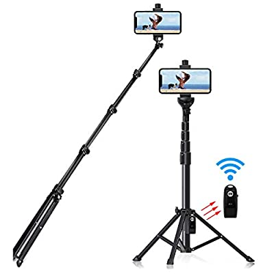 "Selfie Stick Tripod, 54"" Extendable Tripod Stand Phone Tripod Camera Tripod Wireless Remote Shutter Compatible with iPhone 11 pro Xs Max Xr,Android,Vlogging/Streaming/Photography/Recording from Alptoy"