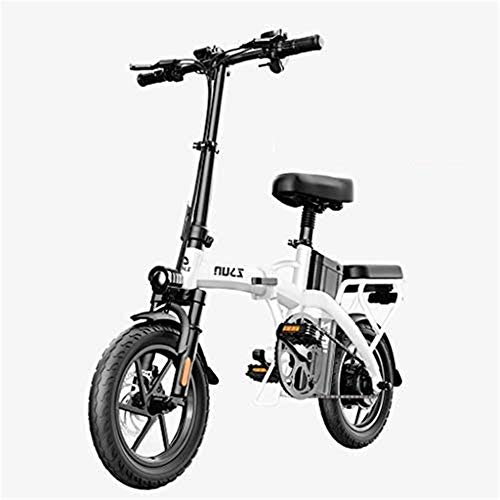 Electric Bike Electric Mountain Bike, Adults Electric Bike, Urban Commuter Folding E-bike, Max Speed 25km/h, 14inch Super Lightweight, 48V 24Ah Removable Charging Lithium Battery, Unisex Bicycle for t