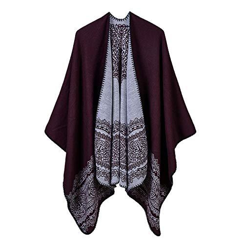 Vghi Dames Winter Poncho Cape Coat Vest Mantel Cape Hooded Cashmere Sjaal Sjaals Geometrische
